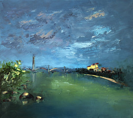 the sky is overcast the River City oil painting