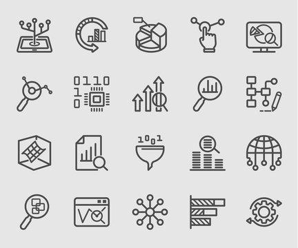 Data analysis line icon