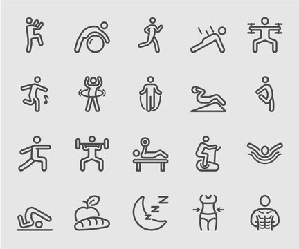 Exercise and Fitness for Health line icon