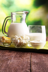 milk products. tasty healthy dairy products on a table