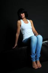 Frau in Jeans Casual Fashion Bodyparts