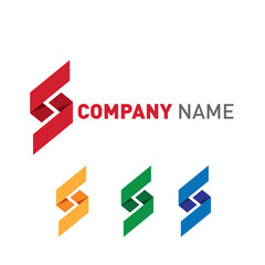 Company logo set with placeholder text in red, yellow, blue and green. Lettering S shape logos and icons collection.