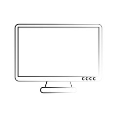 computer monitor icon image vector illustration design sketch style