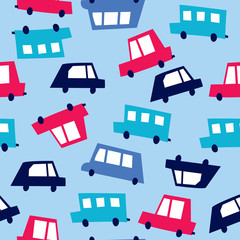 seamless colorful car pattern vector illustration