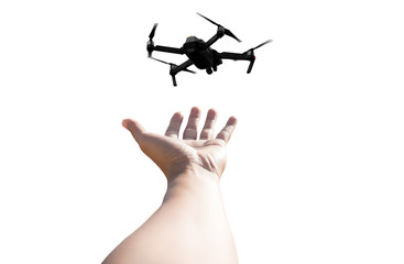 Hand with Quadcopter Drone isolated