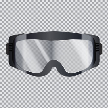 Isolated realistic ski goggles with transparent glass. 3d vector