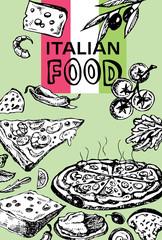 Hand drawn doodle food illustration. Breakfast set. Dish top view.Italian food