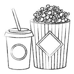 pop corn with soda vector illustration design