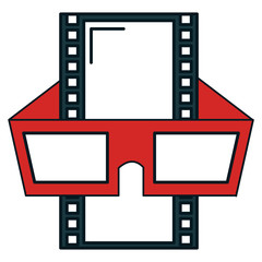 tape film with glasses 3d vector illustration design
