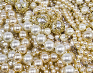 Macro Close Up of Beautiful Real Pearls and Necklaces Background