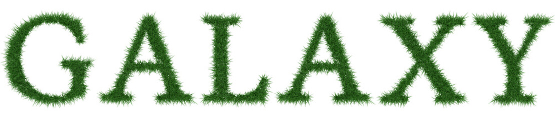 Galaxy - 3D rendering fresh Grass letters isolated on whhite background.