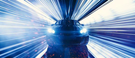 Auto fährt schnell auf der Datenautobahn