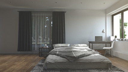 bedroom 3D rendering in room with blank wall,new furniture, white walls