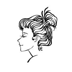 Vector woman portrait vignette