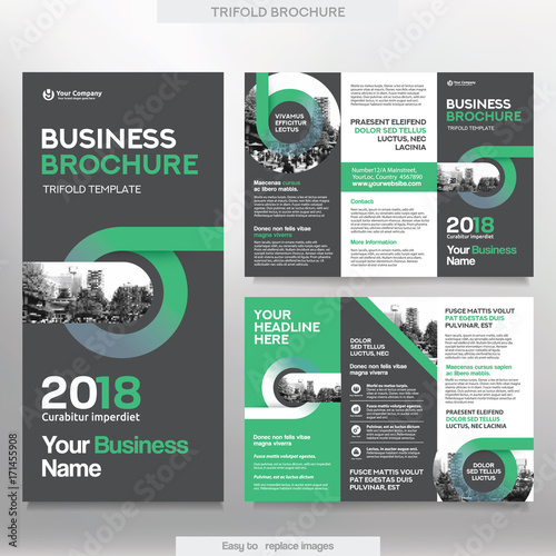 Business brochure template in tri fold layout corporate design business brochure template in tri fold layout corporate design leaflet with replacable image wajeb Image collections
