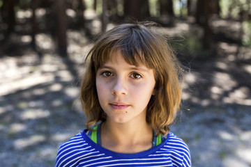 Close-up portrait of girl at Inyo National Forest