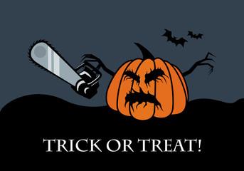 Trick or treat vector. Halloween pumpkin vector illustration. Halloween background