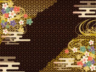 黒と金の和柄の背景素材