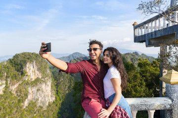 Young Couple Mountain View Point Happy Smiling Man And Woman Taking Selfie Photo On Cell Smart Phone Asian Holiday Summer Vacation Travel