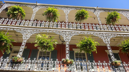 Classic Architecture of Building and Balconies in New Orleans French Quarter