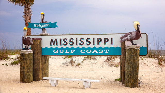 Welcome to Mississippi Gulf Coast Sign on Beach