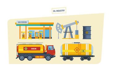 Gas station, drilling rig for oil, machine for transportation oil.