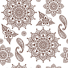 Brown Henna Lotus Repeating Pattern Spiritual Illustration 2