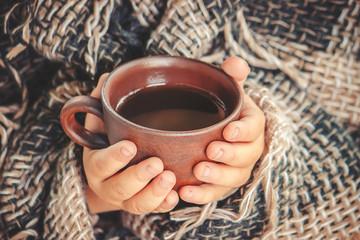 A cup of tea. Comfort. Selective focus.