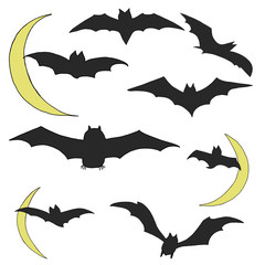 Hand Drawn Halloween Set. Bats with the Moon.
