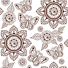 Brown Henna Flowers and Butterflies Repeating Pattern Illustration 1