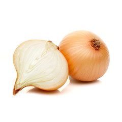 sliced onion isolated on white background