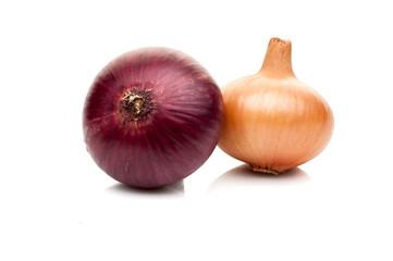 onion bulbs isolated on white background