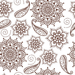 Brown Henna Flowers and Paisley Repeating Pattern Illustration 1
