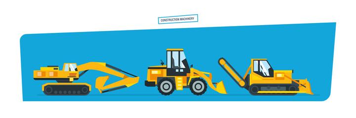 Construction machines, trucks, vehicles for transportation, asphalt.