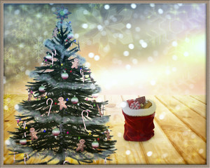 Christmas and New year decoration for the holiday. 3D rendering.