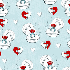 Wedding seamless pattern with line icons on white background. Wedding icons seamless pattern.
