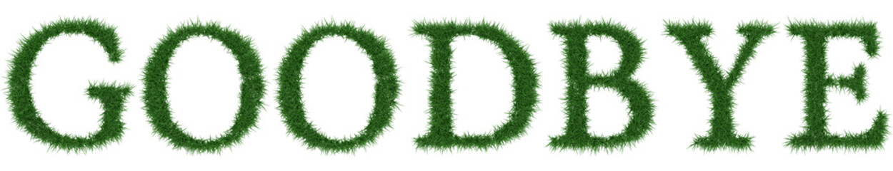 Goodbye - 3D rendering fresh Grass letters isolated on whhite background.