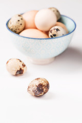 Chicken and quail eggs in blue bowl, white background, vertical, selective focus