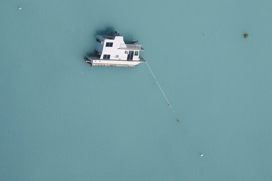 A sunken boat is pictured in an aerial photo in the Keys in Marathon, Florida