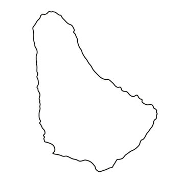 Barbados map of black contour curves of vector illustration