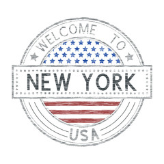 Welcome to New York, USA. Colored tourist stamp with US national flag