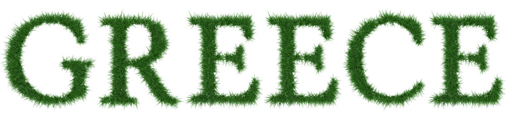 Greece - 3D rendering fresh Grass letters isolated on whhite background.