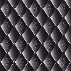 vector drawing of black quilted leather with geometric pattern