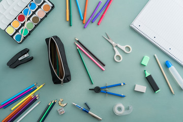 Collection of colourful school supplies
