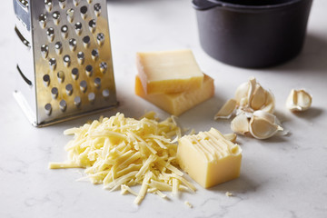 Grated cheese in close-up