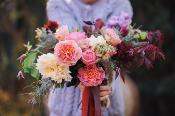 Autumn themed  Wedding Floral Bouquet; fall flowers bouquet
