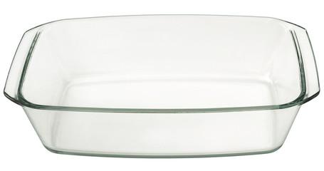 Large Oblong Rectangular Glass Baking Pan Isolated On White Background
