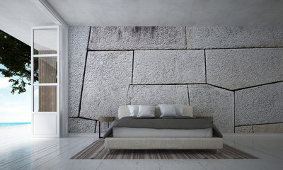 The bedroom interior design and stone texture wall / 3D rendering new scene new