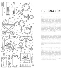 Vector icons pregnancy, obstetrics, gynecology outline icons. Medicine symbols mother, newborn health care, diagnostic equipment. Vector banner isolated on white background with place for text