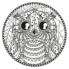 Mandala. Zentangle owl. Hand drawn circle zendala with abstract patterns on isolation background. Design for spiritual relaxation for adults. Line creation. Black and white illustration for coloring